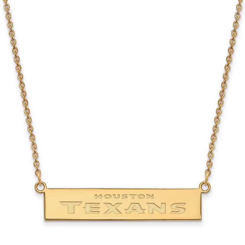 GP016TXN-18: 925 YGFP Houston Texans Bar Necklace