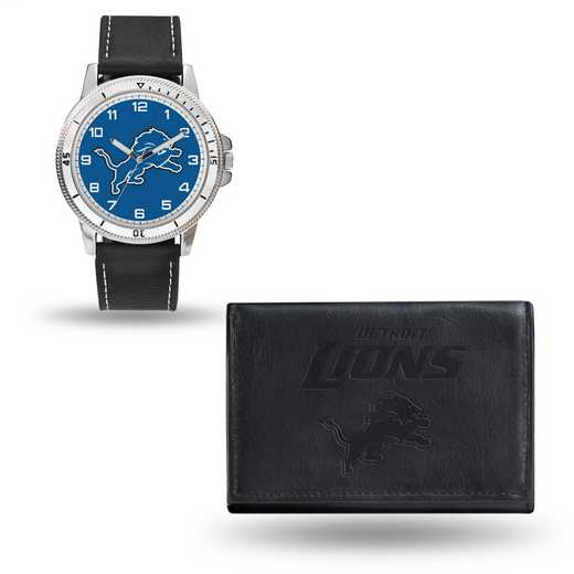 GC4824: Men's NFL Watch/Wallet Set - Detroit Lions - Black