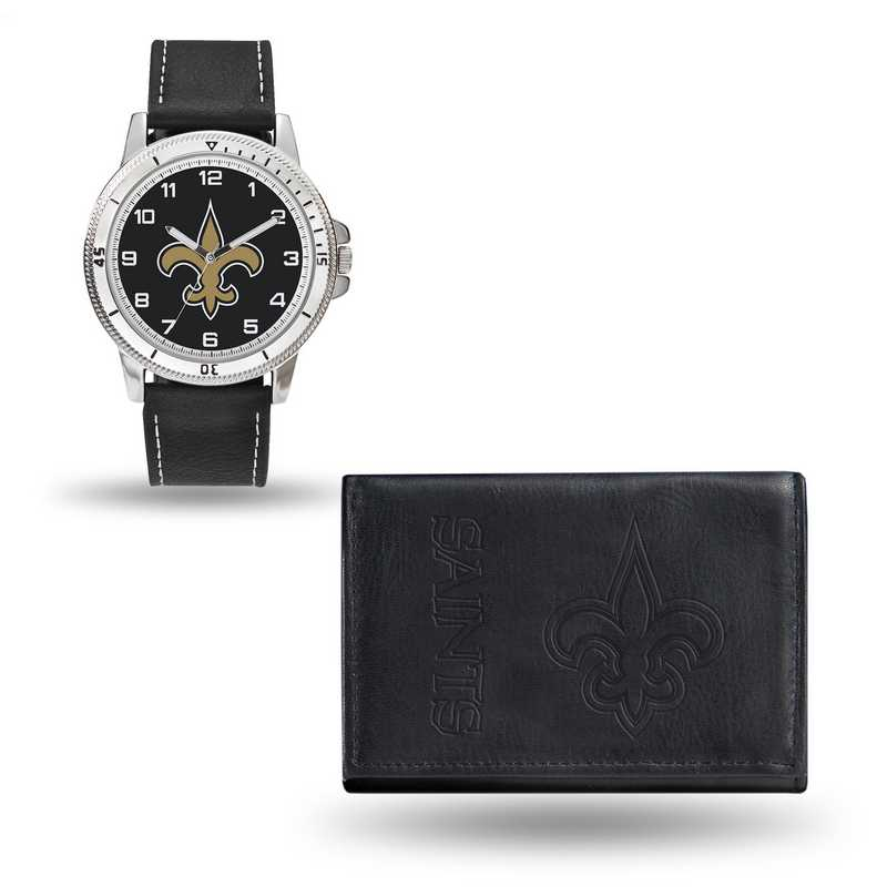 GC4833: Men's NFL Watch/Wallet Set - New Orleans Saints - Black
