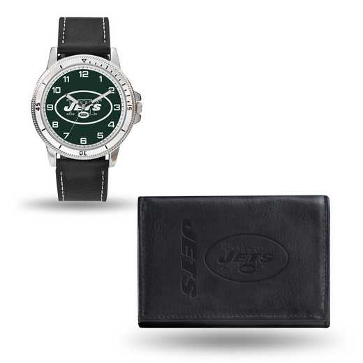 GC4835: Men's NFL Watch/Wallet Set - New York Jets - Black
