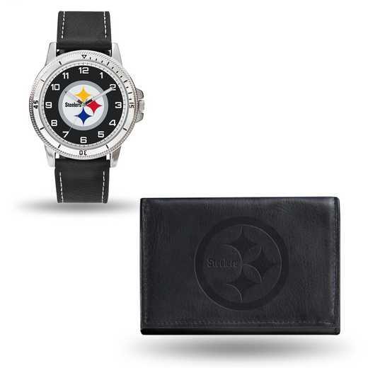 GC4838: Men's NFL Watch/Wallet Set - Pittsburgh Steelers - Black
