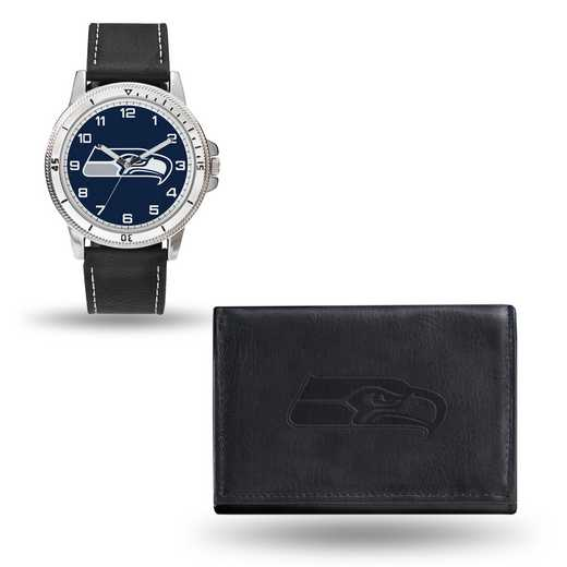 GC4840: Men's NFL Watch/Wallet Set - Seattle Seahawks - Black