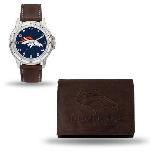 GC4855: Men's NFL Watch/Wallet Set - Denver Broncos - Brown