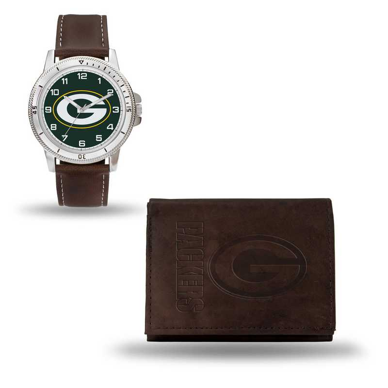 GC4857: Men's NFL Watch/Wallet Set - Green Bay Packers - Brown