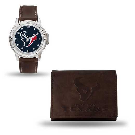 GC4858: Men's NFL Watch/Wallet Set - Houston Texans - Brown