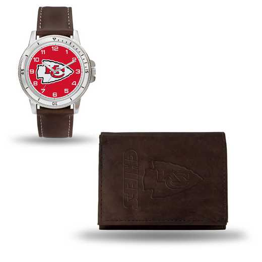 GC4861: Men's NFL Watch/Wallet Set - Kansas City Chiefs - Brown