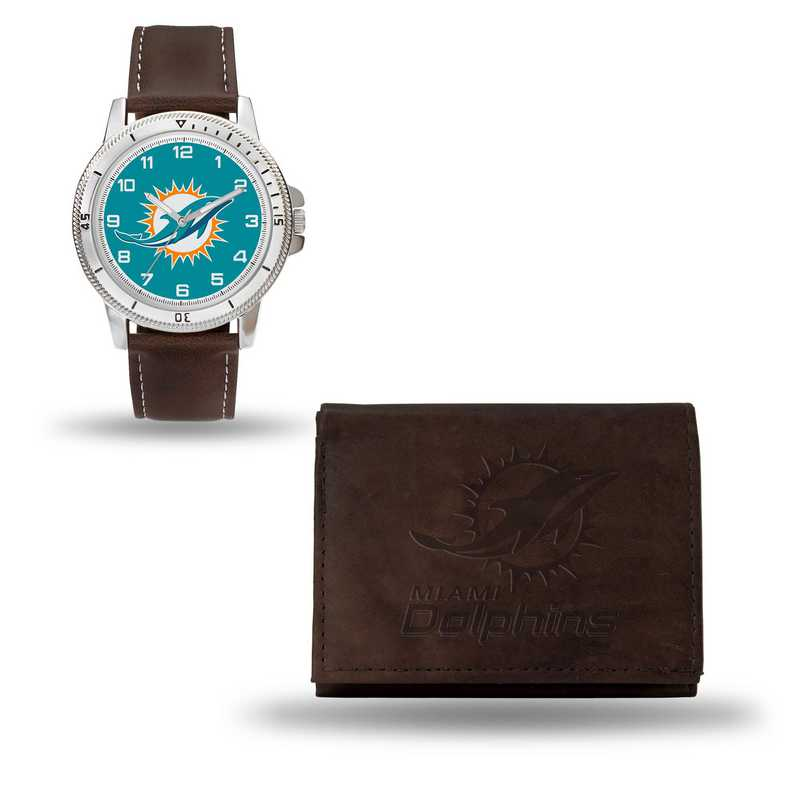 GC4862: Men's NFL Watch/Wallet Set - Miami Dolphins - Brown