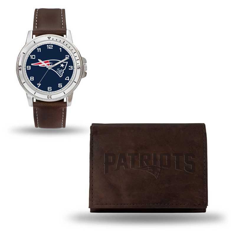 GC4864: Men's NFL Watch/Wallet Set - New England Patriots - Brown