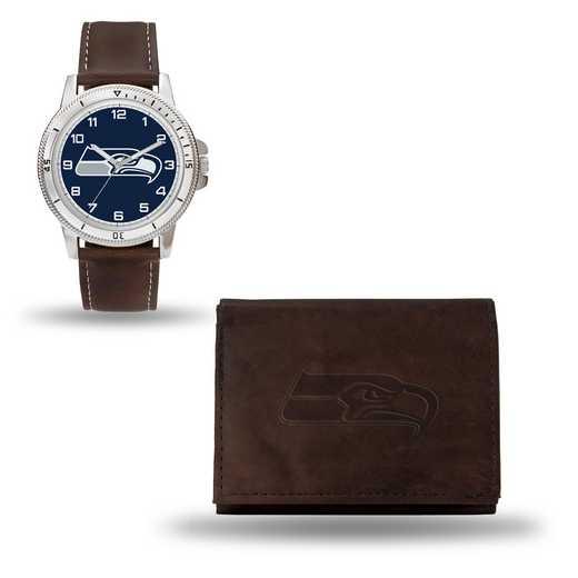 GC4872: Men's NFL Watch/Wallet Set - Seattle Seahawks - Brown