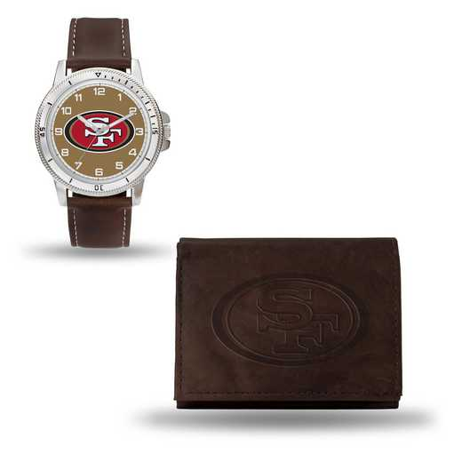 GC4873: Men's NFL Watch/Wallet Set - San Francisco 49ers - Brown
