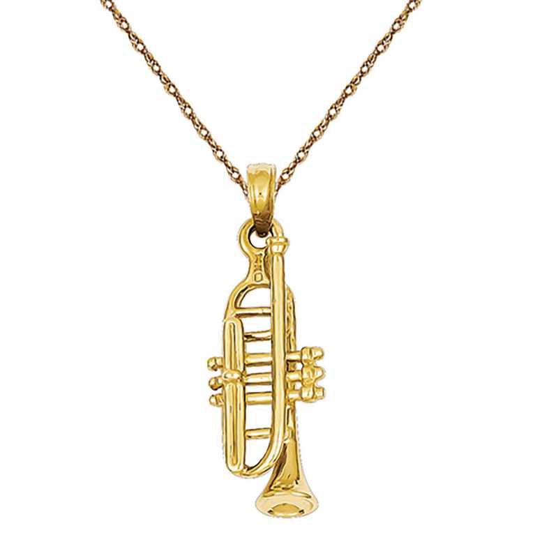 C2277/5RY-18: 14 Karat Solid Polished 3-Dimensional Trumpet Pendant