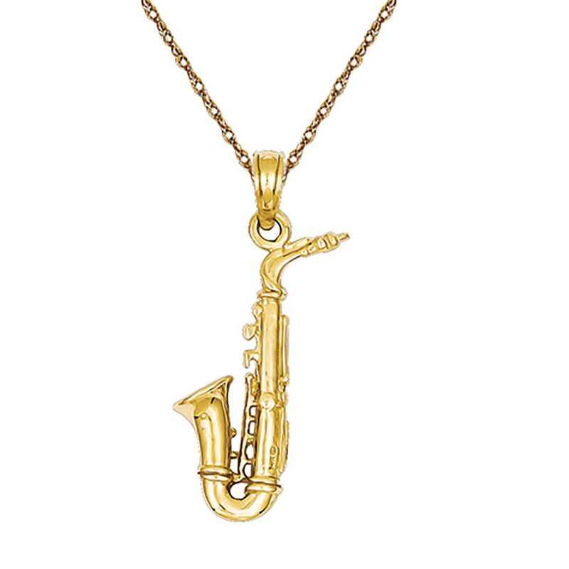C3135/5RY-18: 14k YG 3-D Saxophone Pendant