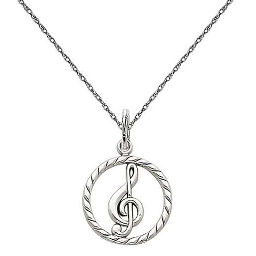 D1254/5RW-18: 14k WG Polished Treble Clef in Circle Charm