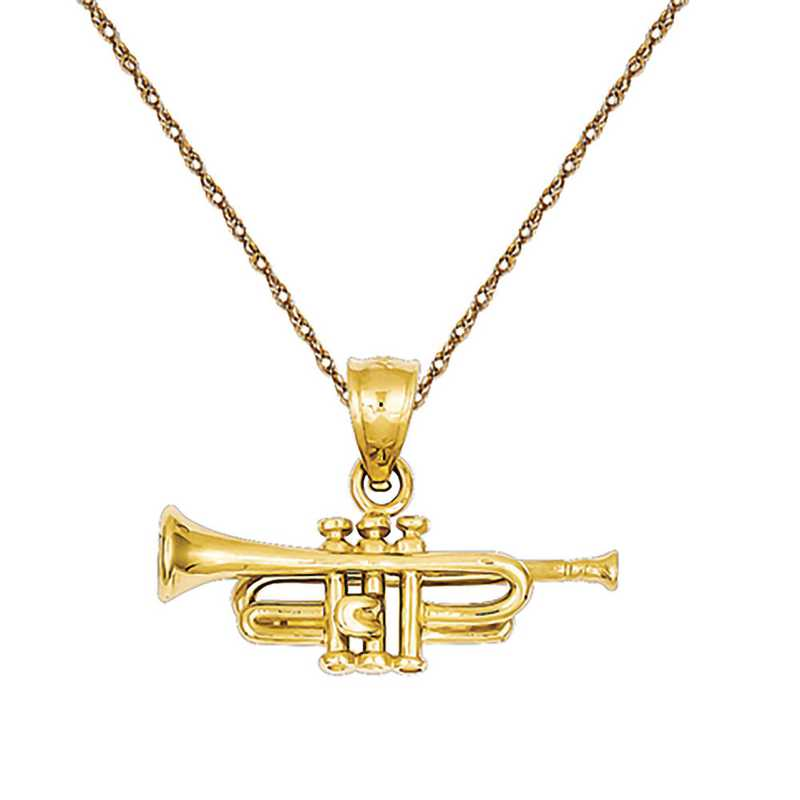 D3438/5RY-18: 14k YG Trumpet Pendant