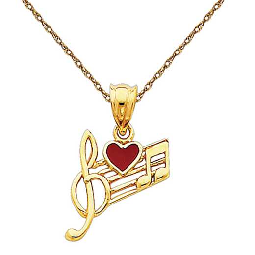 K948/5RY-18: 14k YG Music Scale with Red Enameled Heart Pendant