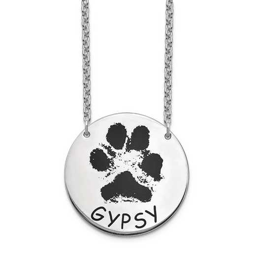 10XNA1078W: 10 Karat White Gold Large Paw Necklace