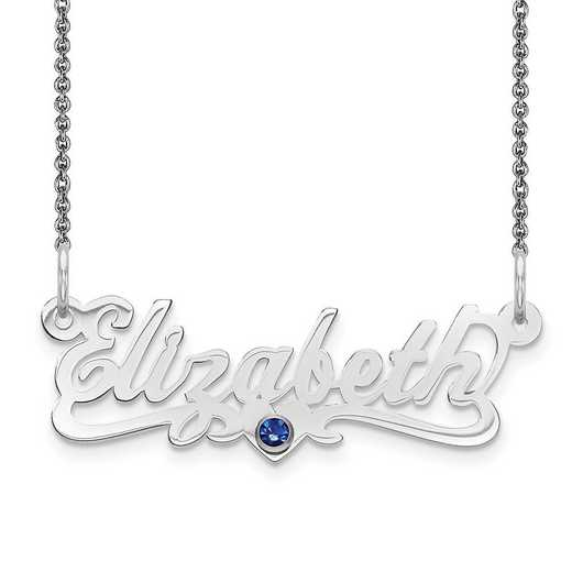 Personalized 10 Karat White Gold Laser Polished Crystal Birthstone Name Plate Necklace