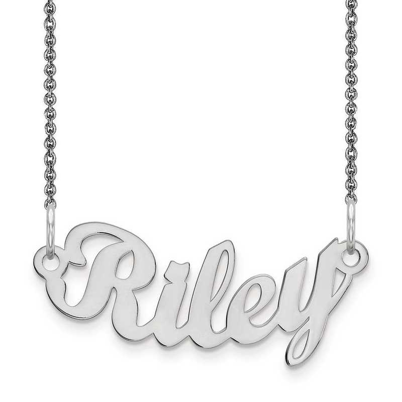 10XNA75W: 10K White Gold .013 Gauge Polished Curved Name Plate -  2