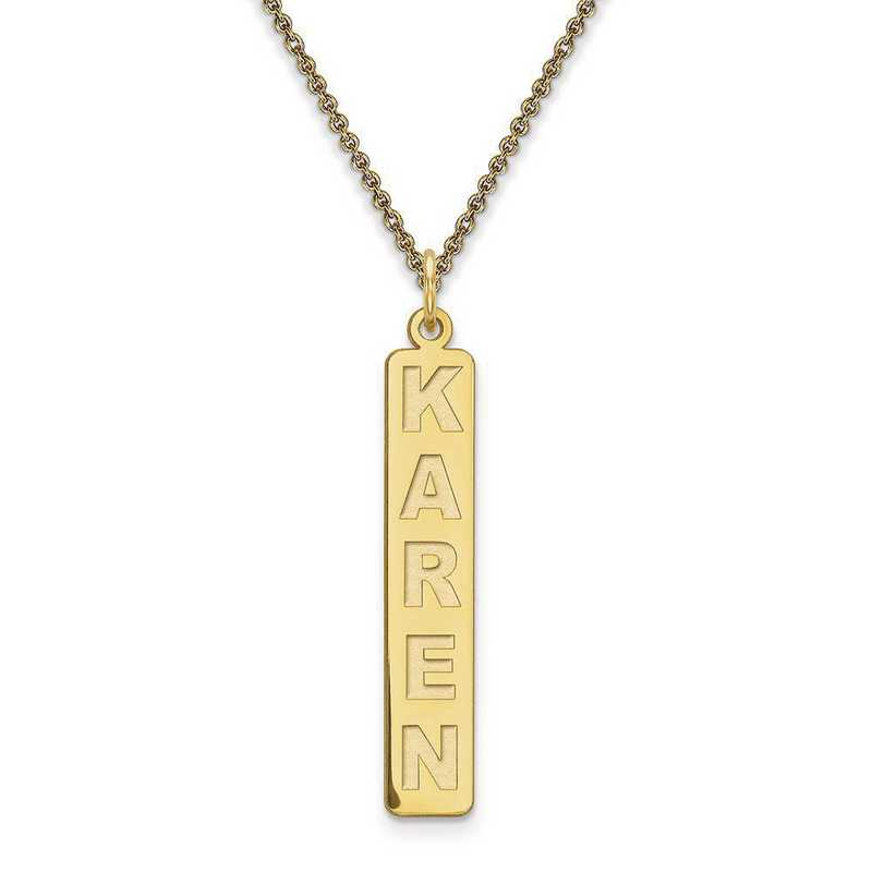 10XNA98Y: 10 Karat Yellow Gold Vertical Name Plate