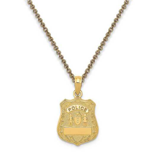 C3099-PEN53-18: Personalized 14k Police Badge Pendant