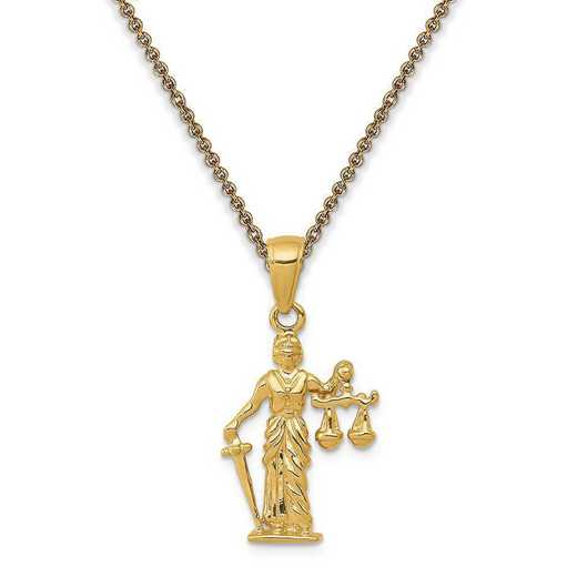 C3121-PEN53-18: 14k 3-D Lady of Justice with Moveable Scales Pendant