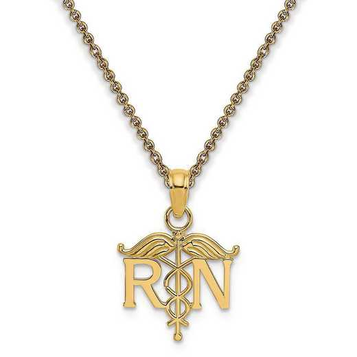 K4930-PEN53-18: 14k Registered Nurse Pendant