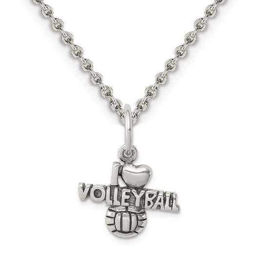 QC5096-QCL050-18: Sterling Silver Antique I (heart) Volleyball Charm