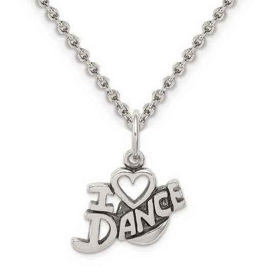 QC6463-QCL050-18: Sterling Silver Antiqued I Love Dance Charm