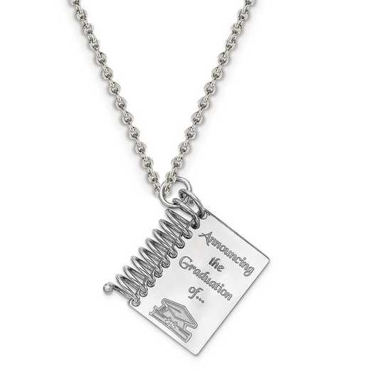 QC7191-QCL050R-18: Personalized Sterling Silver Rh-plated Graduation Book Charm