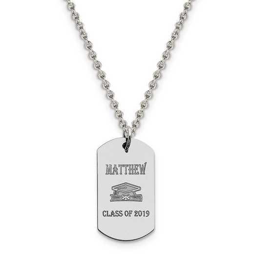 QC7198-QCL050R-18: Personalized Sterling Silver Rh-p Graduation Dog Tag Charm
