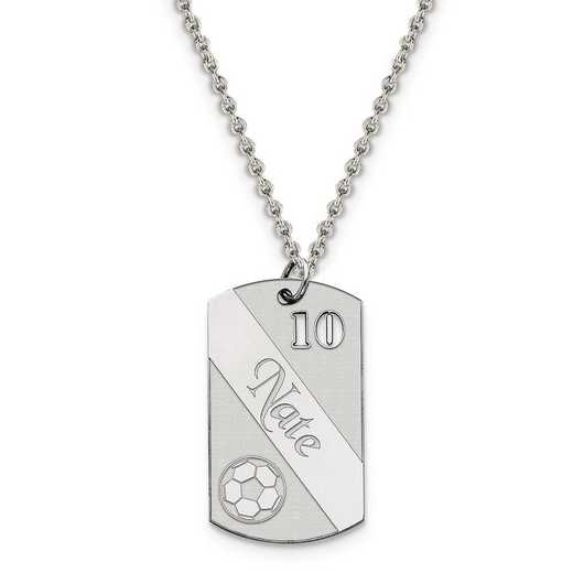 QC7200-QCL050R-18: Personalized Sterling Silver Rh-p Soccer Ball Dogtag Charm