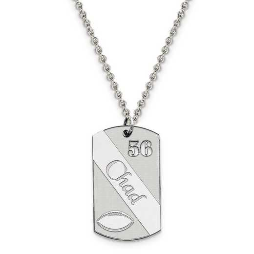 QC7201-QCL050R-18: Personalized Sterling Silver Rh-plated Football Dogtag Charm