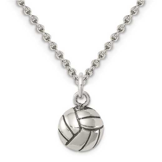 QC7793-QCL050-18: Sterling Silver Antiqued Volleyball Charm