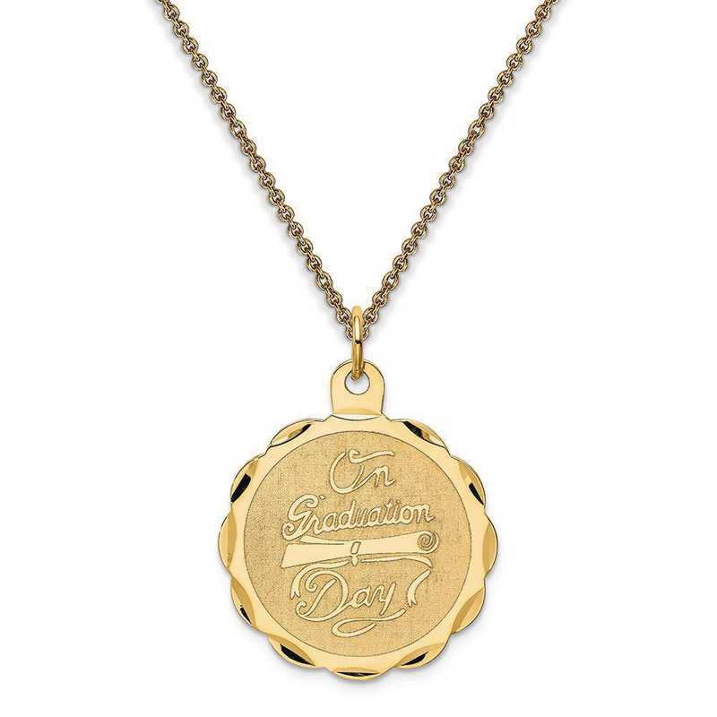 XAC699-PEN53-18: Personalized 14k Graduation Day with Diploma Charm