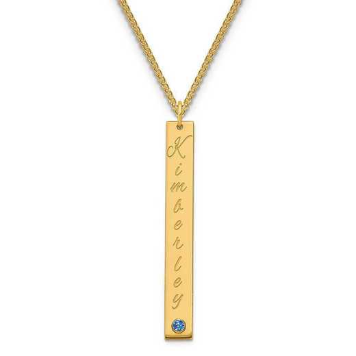 Personalized Gold Plated Sterling Silver Large Vertical Bar Name Charm Necklace with Birthstone