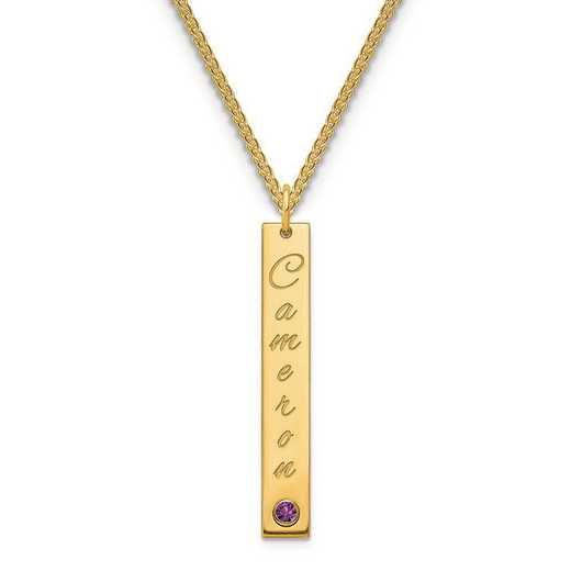 Personalized Gold Plated Sterling Silver Medium Vertical Bar Name Charm Necklace with Birthstone