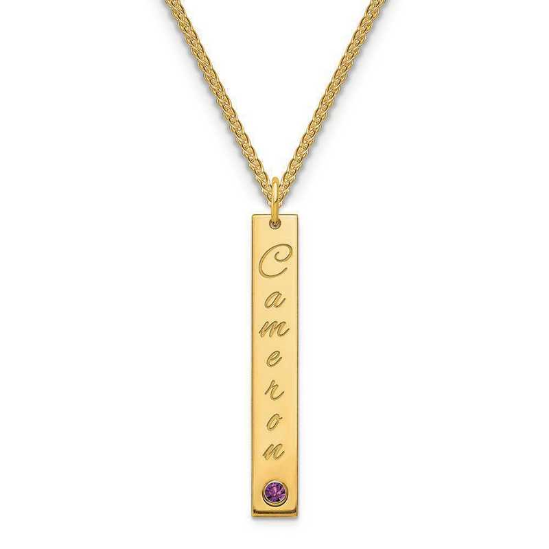 Sterling silver or gold filled personalized name and birthstone bar necklace