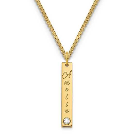Personalized Gold Plated Sterling Silver Small Vertical Bar Name Charm Necklace with Birthstone