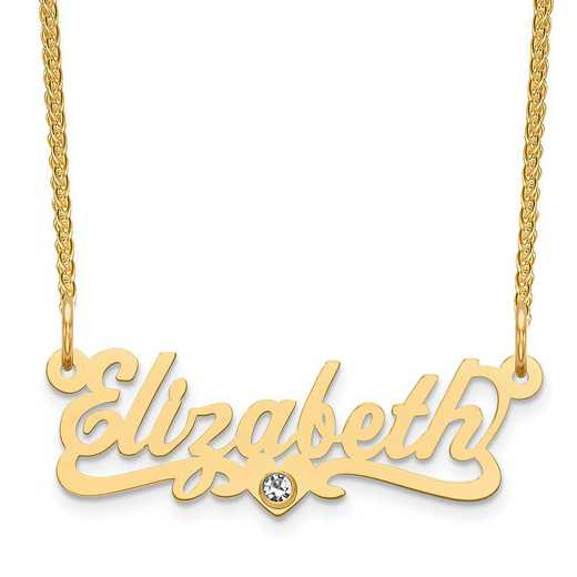 Personalized Gold Plated Sterling Silver Laser Polished Crystal Birthstone Name Plate Necklace