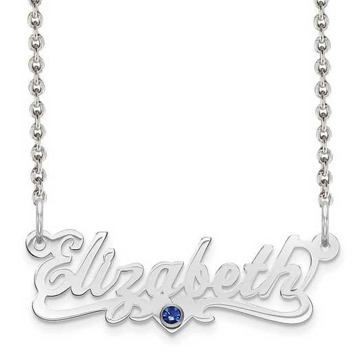 Personalized Sterling Silver Laser Polished Crystal Birthstone Name Plate Necklace
