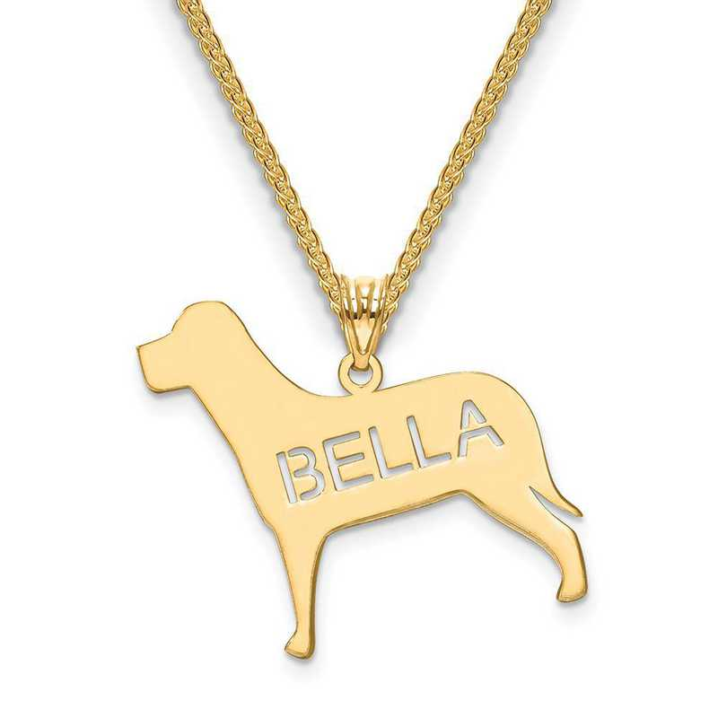 XNA691GP: Gold Plated Sterling Silver Laser Polished Dog Name Pendant