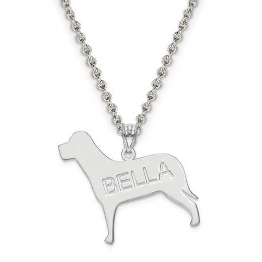 XNA691SS: Sterling Silver Rhodium-plated Laser Polished Dog Name Pend