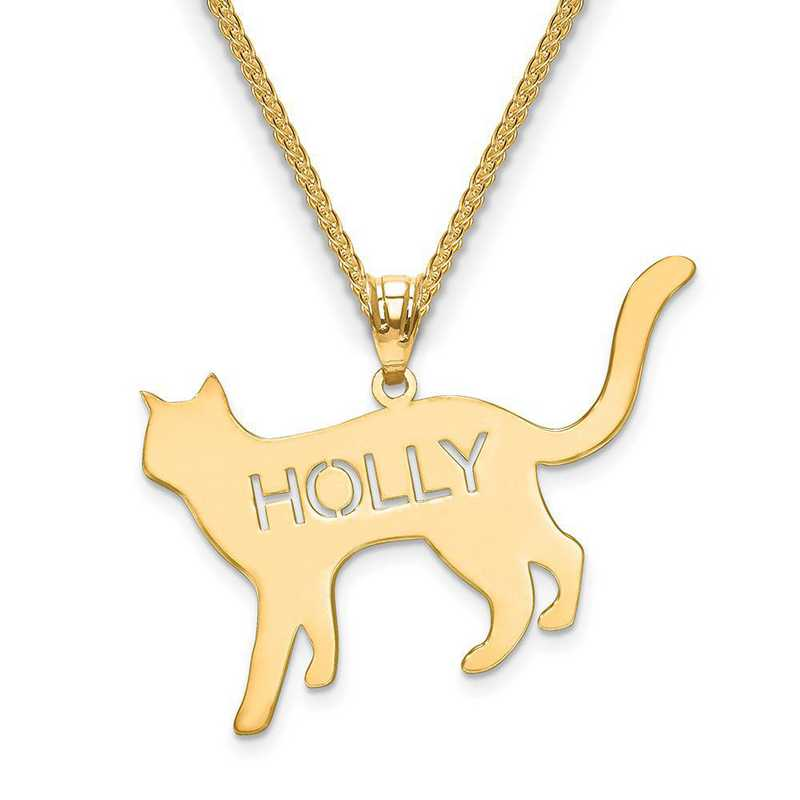 XNA692GP: Gold Plated Sterling Silver Laser Polished Cat Name Pendant