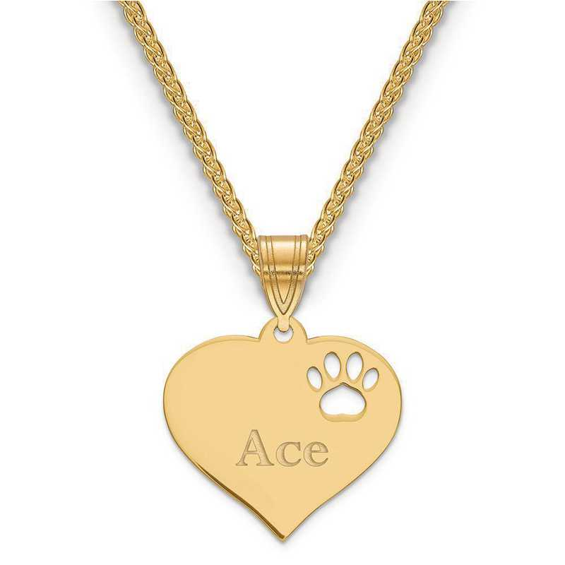 XNA766GP: Gold Plated Sterling Silver Heart Pendant w/ Pawprint Cutout