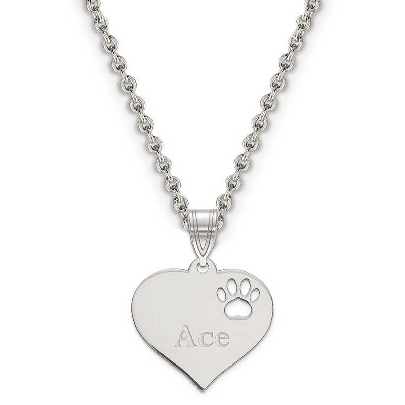 XNA766SS: Sterling Silver Rhodium-plated Heart Pend w/ Pawprint Cutout