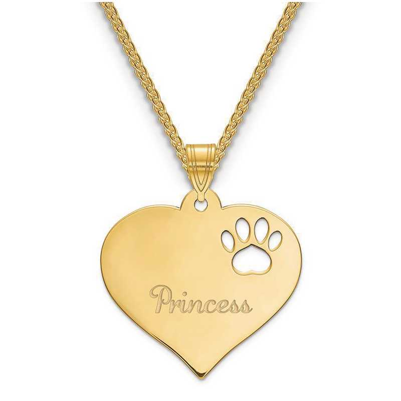XNA769GP: Gold Plated Sterling Silver Heart Pendant w/ Pawprint Cutout