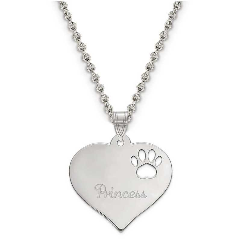 XNA769SS: Sterling Silver Rhod-plated Heart Pendant w/ Pawprint Cutout