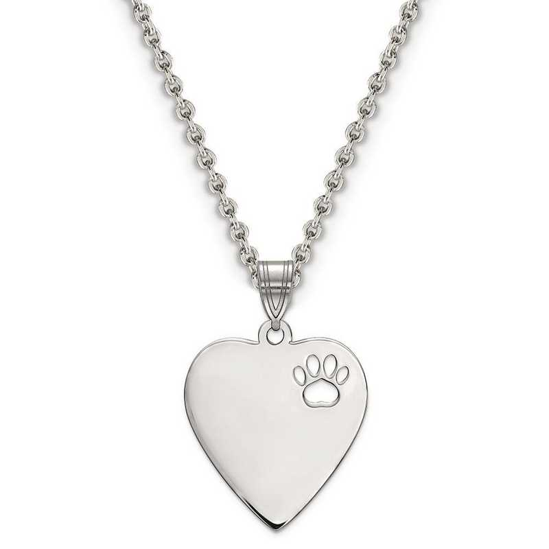 XNA770SS: Sterling Silver Rhodium-plated Heart Pend w/ Pawprint Cutout