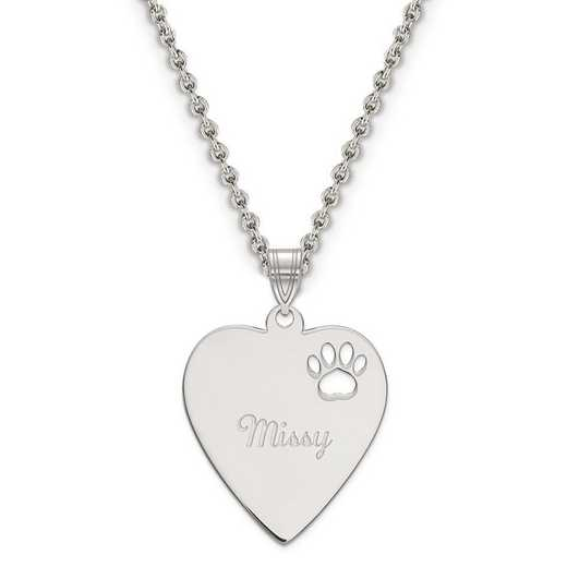 XNA771SS: Sterling Silver Rhod-plated Heart Pendant w/ Pawprint Cutout