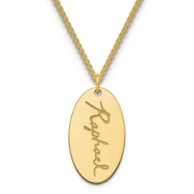 XNA973GP: Sterling Silver Gold Plated Oval Script Name Charm
